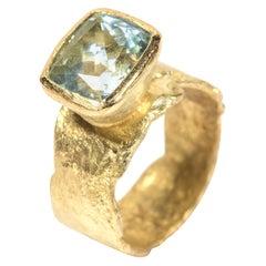 Wide Organic Textured Aquamarine Ring Handmade by Disa Allsopp