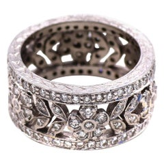 Wide Ornate Diamond Eternity Band