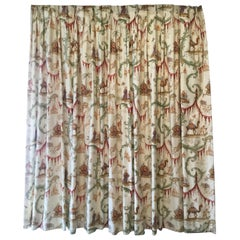 Wide pair of Scalamandre Toile Lined Drapes