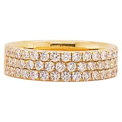 Wide Pave Band Ring in 14 Karat Yellow Gold with 1 Carat Diamonds