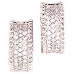 Wide Pave Diamond Hoop Earrings 18 Karat White Gold