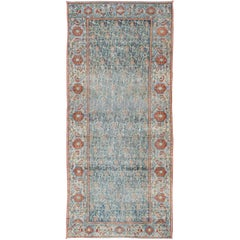 Wide Persian Malayer Runner with All-Over Floral Pattern in Persian Blue Color