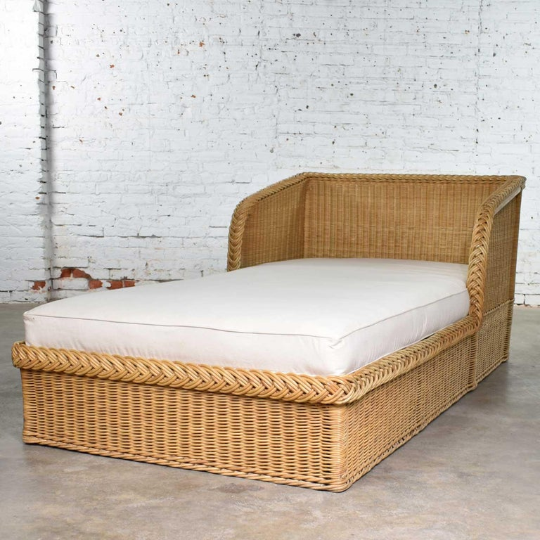 Wide Rattan Wicker Chaise by Bielecky Brothers, Inc. New White Canvas Upholstery For Sale 3