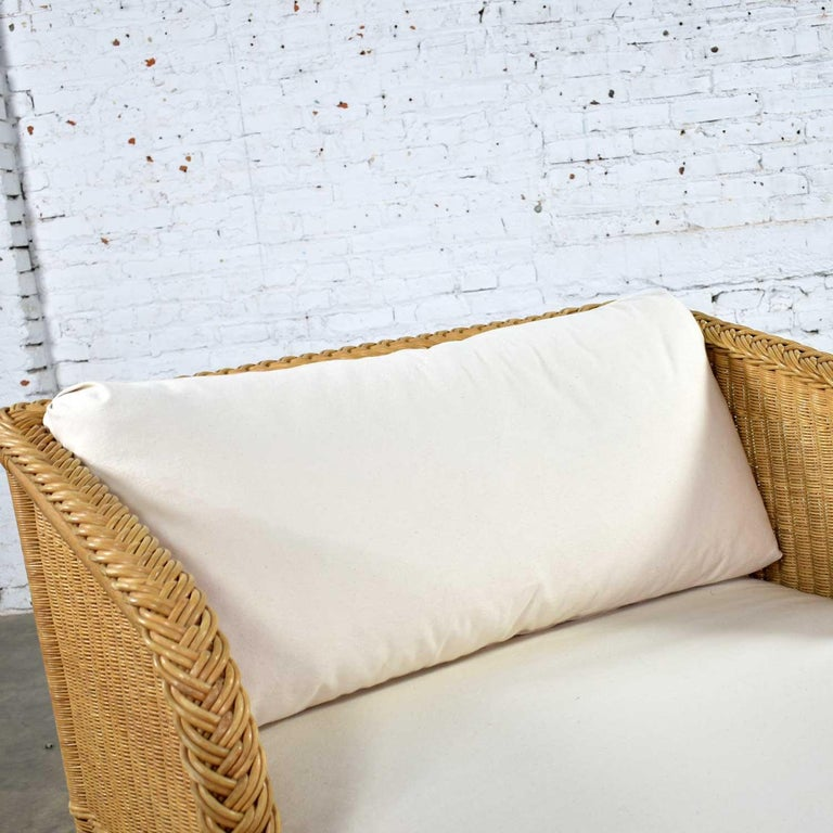 Wide Rattan Wicker Chaise by Bielecky Brothers, Inc. New White Canvas Upholstery For Sale 4