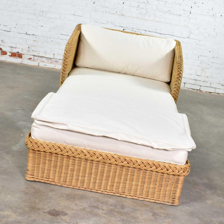 Wide Rattan Wicker Chaise by Bielecky Brothers, Inc. New White Canvas Upholstery For Sale 6