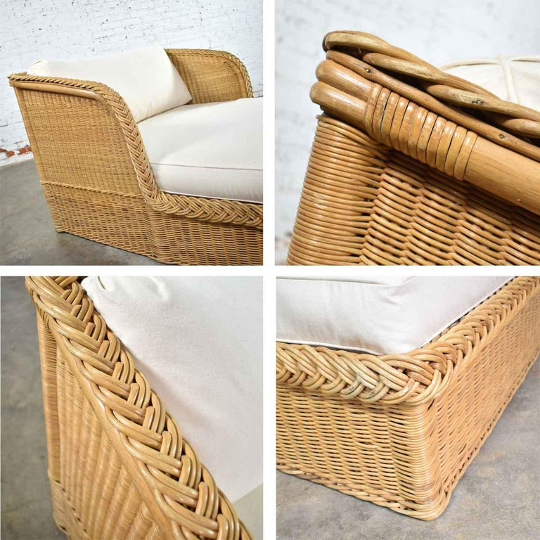 Wide Rattan Wicker Chaise by Bielecky Brothers, Inc. New White Canvas Upholstery For Sale 7