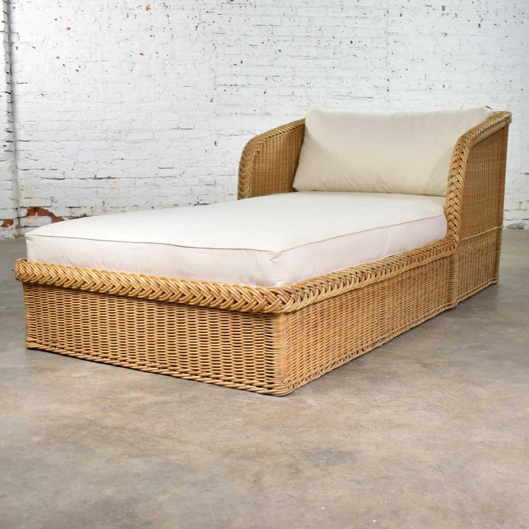 Organic Modern Wide Rattan Wicker Chaise by Bielecky Brothers, Inc. New White Canvas Upholstery For Sale