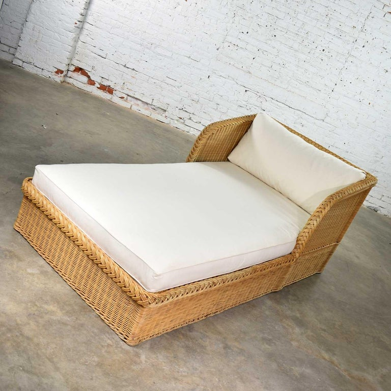 American Wide Rattan Wicker Chaise by Bielecky Brothers, Inc. New White Canvas Upholstery For Sale