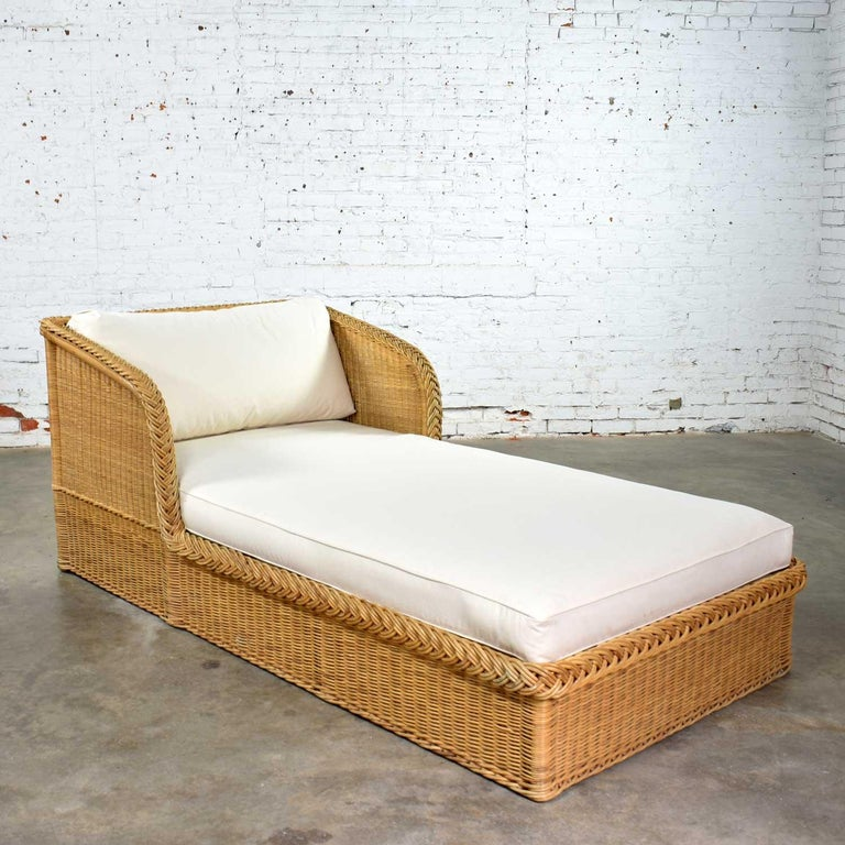 20th Century Wide Rattan Wicker Chaise by Bielecky Brothers, Inc. New White Canvas Upholstery For Sale