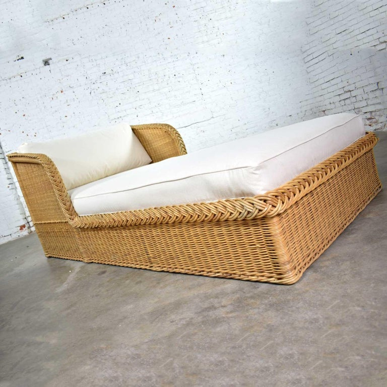 Fabric Wide Rattan Wicker Chaise by Bielecky Brothers, Inc. New White Canvas Upholstery For Sale