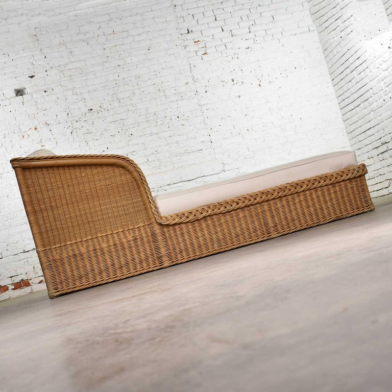 Wide Rattan Wicker Chaise by Bielecky Brothers, Inc. New White Canvas Upholstery For Sale 1