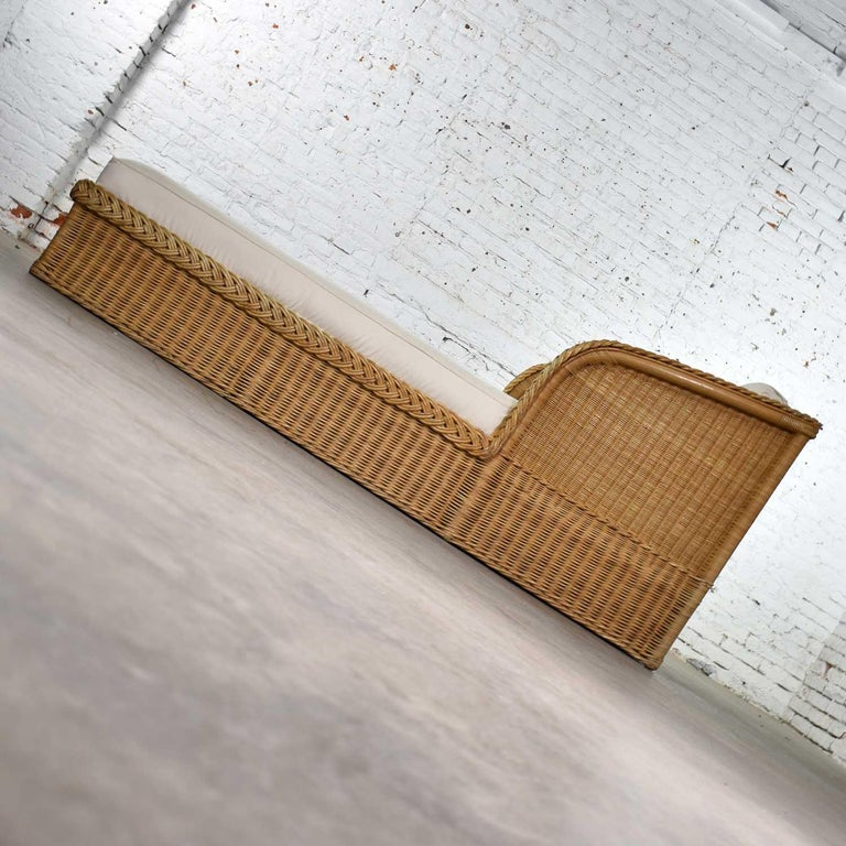 Wide Rattan Wicker Chaise by Bielecky Brothers, Inc. New White Canvas Upholstery For Sale 2