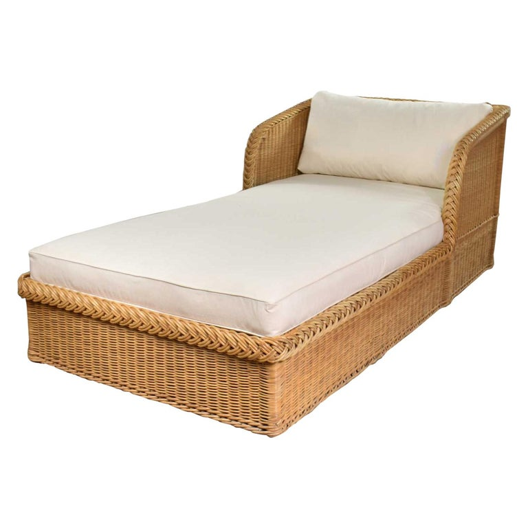 Wide Rattan Wicker Chaise by Bielecky Brothers, Inc. New White Canvas Upholstery For Sale