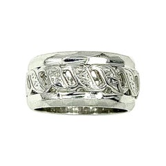 Wide Reticulated White 14 Karat Gold Wedding Band Ring