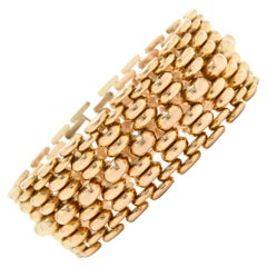 Wide Retro Rose Gold Bracelet Chunky 1940s Industrial Links Woven Tank Tread 18K