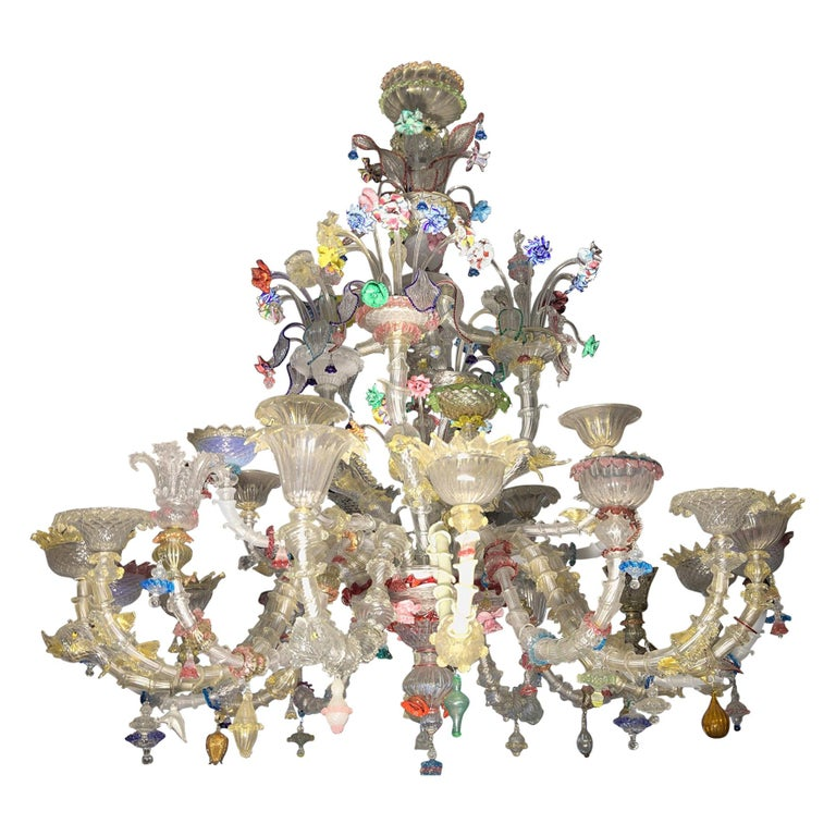 Pauly Wide Rezzonico Eclectic Chandelier 24 Arms, Unique Elements Combination  For Sale