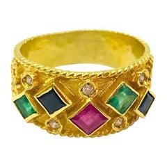Wide, Rich Diamond Saphire, Ruby, Emerald Band 1.50 Carat