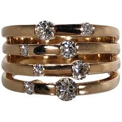 Wide Rose Gold Diamond Ring