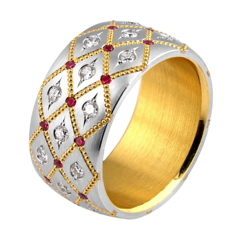 Wide Ruby and Diamond band in Platinum and 24 Karat Gold by Zoltan David For Sale 1
