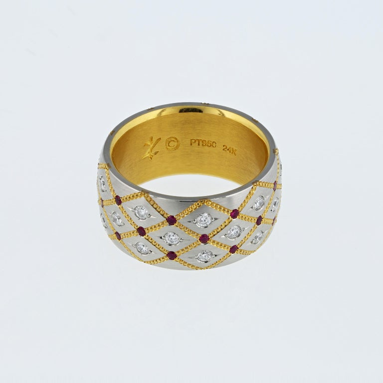 Art Deco Wide Ruby and Diamond band in Platinum and 24 Karat Gold by Zoltan David For Sale