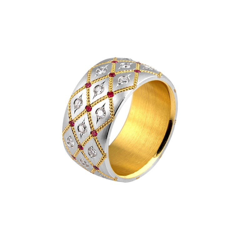 Wide Ruby and Diamond band in Platinum and 24 Karat Gold by Zoltan David For Sale