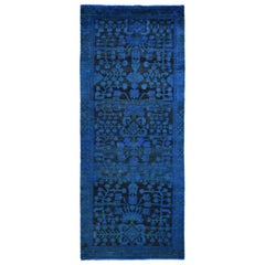 Vintage Wide Runner Blue Overdyed Persian Lilihan Handknotted Worn Down Wool Rug