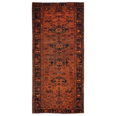 Wide Runner Orange Overdyed Hamadan Wool Hand knotted Oriental Rug