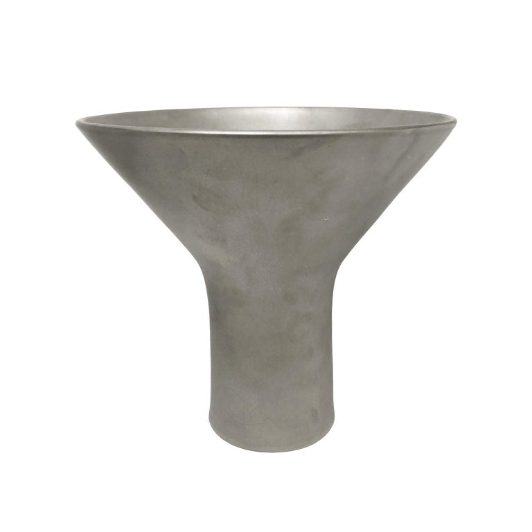 Wide Splayed Mouth Ceramic Vase in Burnished Platinum Luster by Sandi Fellman For Sale