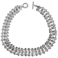 Wide Sterling Siler Chain Decoratively Engraved in a Chainmail Choker Necklace
