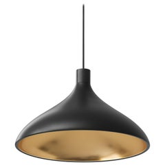 Wide Swell Pendant Light in Black and Brass by Pablo Designs