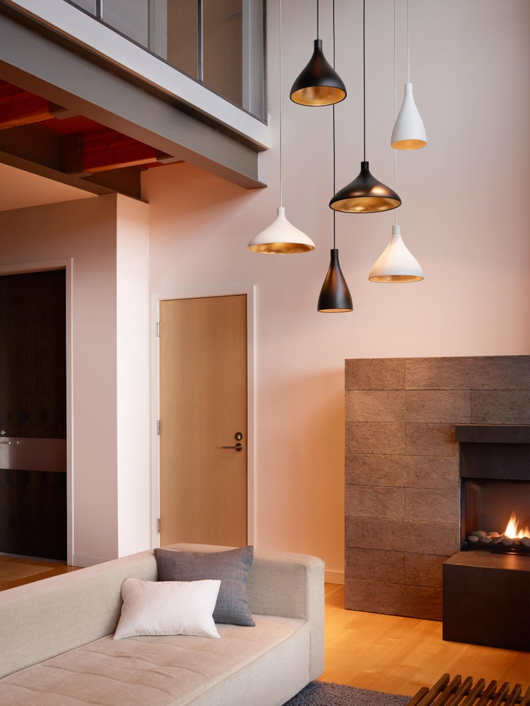 Modern Wide Swell String Pendant Light in Brass by Pablo Designs For Sale
