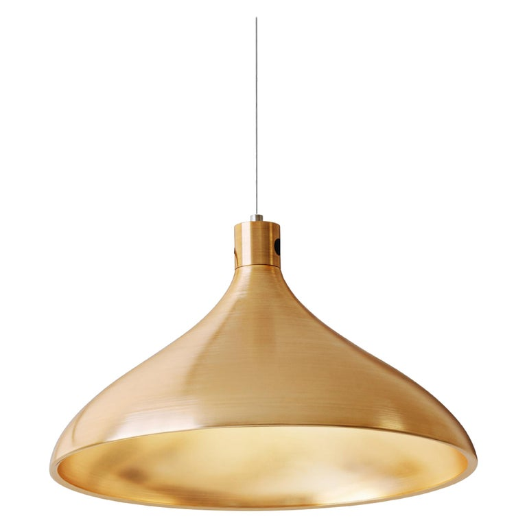 Wide Swell String Pendant Light in Brass by Pablo Designs For Sale