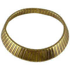 Wide Two-Tone Gold Collar Necklace