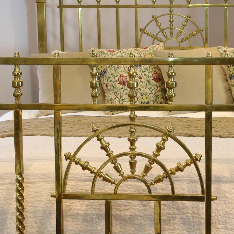 A superb top quality all brass Victorian antique bed with square-section brass tubing, barley twist elaboration, substantial brass sectioned posts, decorative brass castings and sunburst design in head and foot panels. This is one of the finest