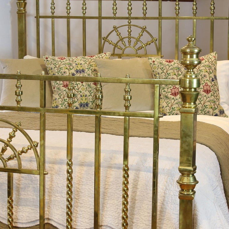 Late Victorian Wide Victorian Brass Antique Bed MSK66 For Sale