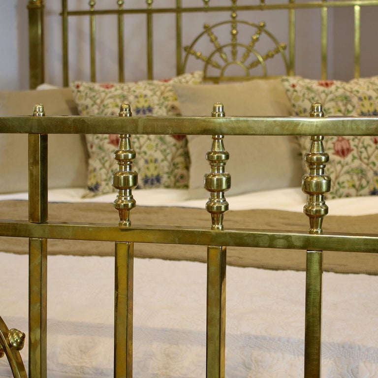 British Wide Victorian Brass Antique Bed MSK66 For Sale