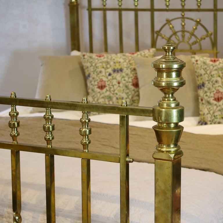 Polished Wide Victorian Brass Antique Bed MSK66 For Sale