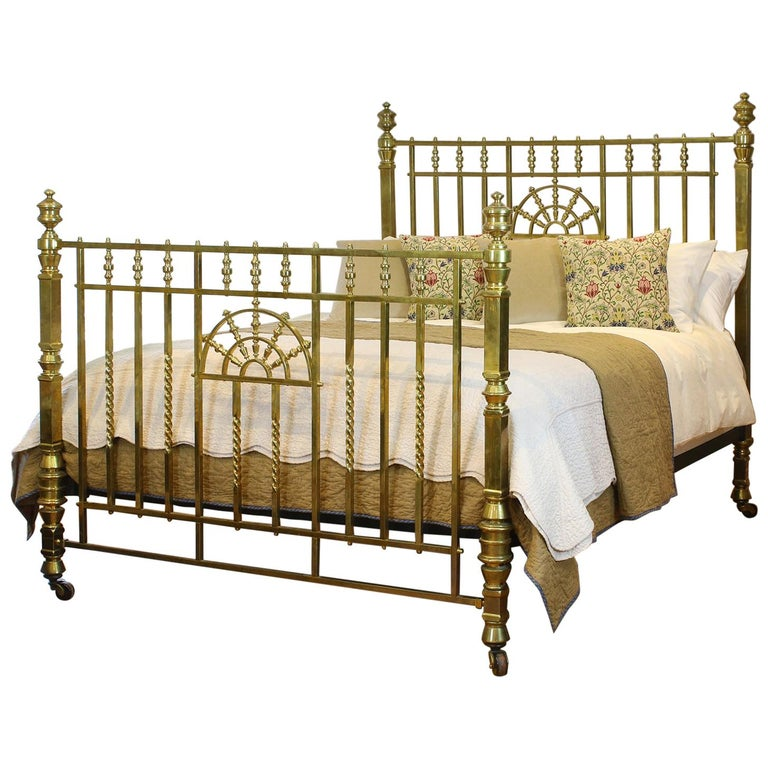 Wide Victorian Brass Antique Bed MSK66 For Sale