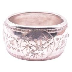 Wide Victorian Silver Bangle