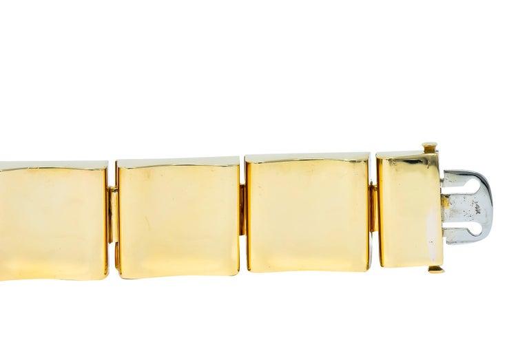 Wide Vintage 14 Karat Gold Polished Link Bracelet For Sale 5