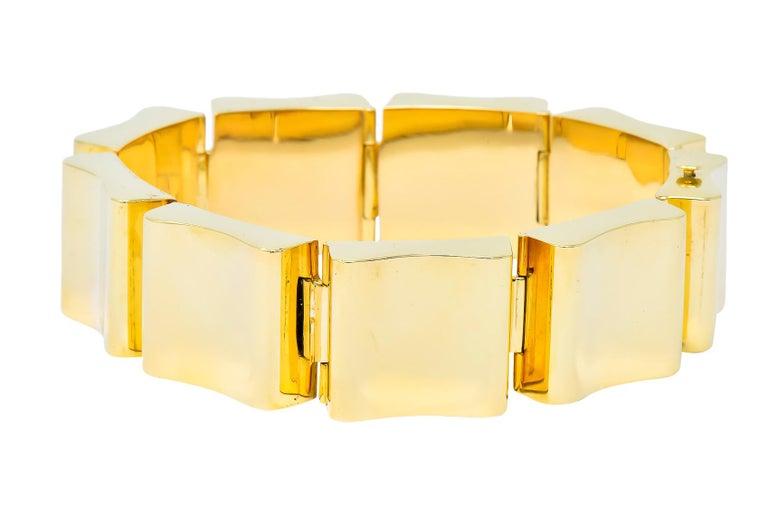 Contemporary Wide Vintage 14 Karat Gold Polished Link Bracelet For Sale