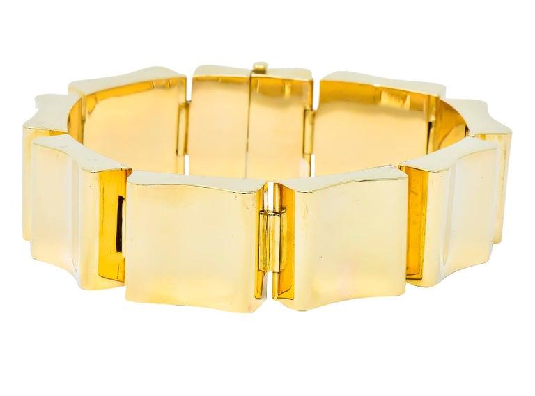 Women's or Men's Wide Vintage 14 Karat Gold Polished Link Bracelet For Sale
