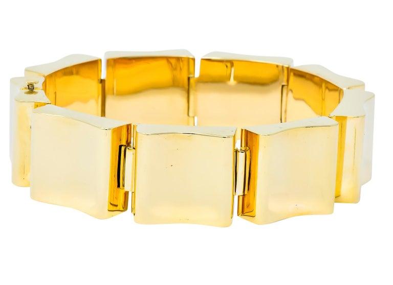 Wide Vintage 14 Karat Gold Polished Link Bracelet For Sale 1