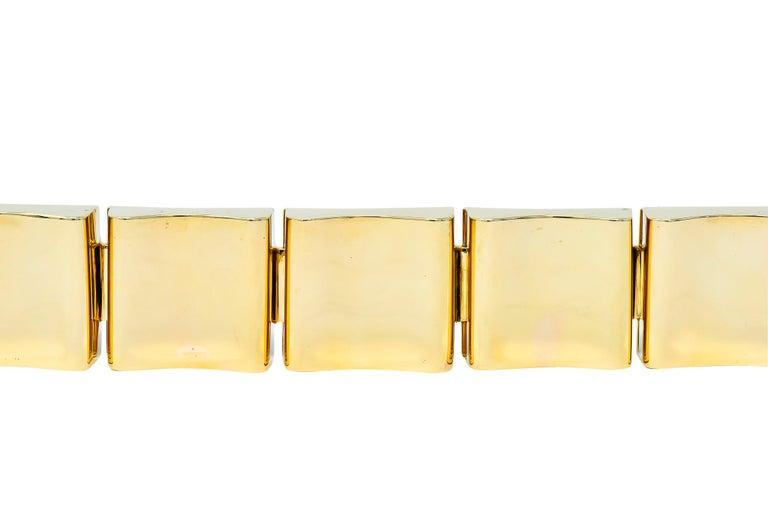 Wide Vintage 14 Karat Gold Polished Link Bracelet For Sale 2