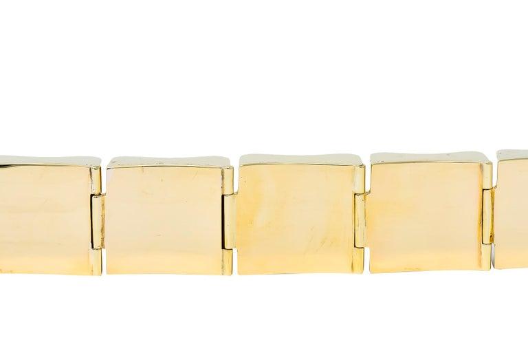 Wide Vintage 14 Karat Gold Polished Link Bracelet For Sale 3