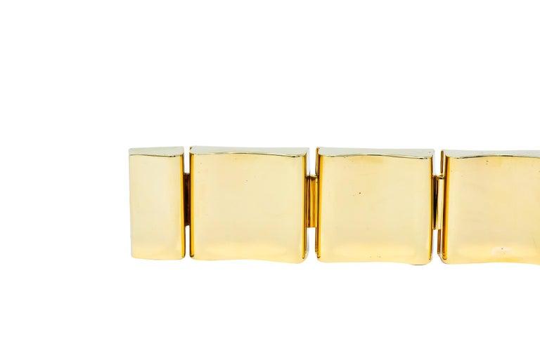 Wide Vintage 14 Karat Gold Polished Link Bracelet For Sale 4