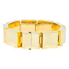 Wide Vintage 14 Karat Gold Polished Link Bracelet