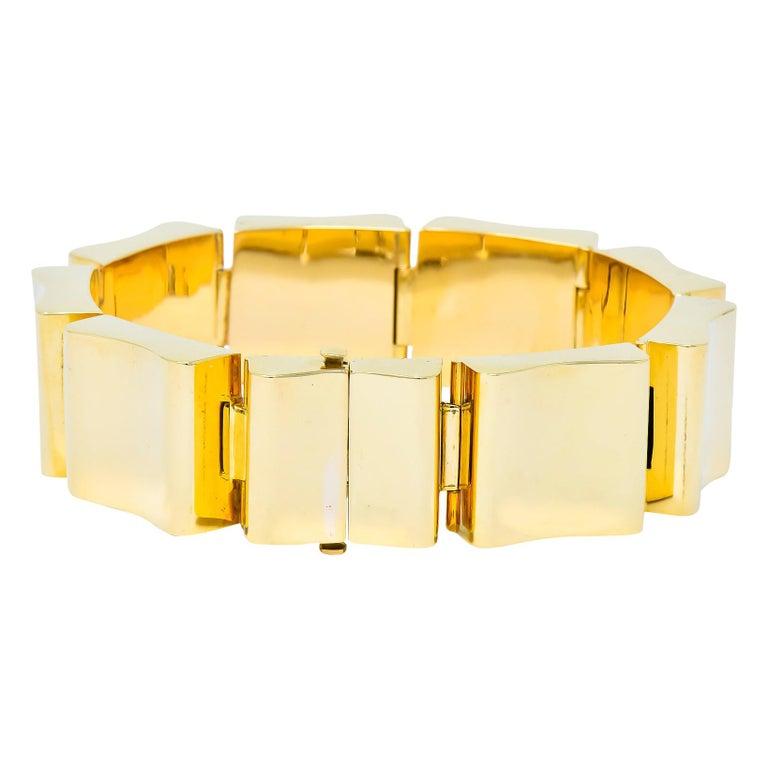 Wide Vintage 14 Karat Gold Polished Link Bracelet For Sale