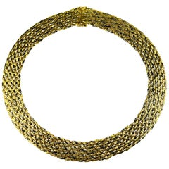 Vintage, Retro, Wide Flat Weave Necklace with Yellow, White, Rose Gold in 18K