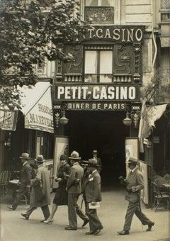 Boulevard Montmartre, Paris, Busy Street View, Silver Gelatin B & W Photograph